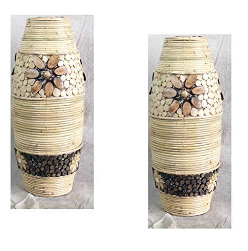 Ding&ng Vaso in Rattan in Stile Sud-EST Asiatico, Vaso in Rattan indonesiano Naturale, Vaso da Terra in Rattan, Vaso Decorativo, 40-120 cm-Altezza Bianca 100 cm