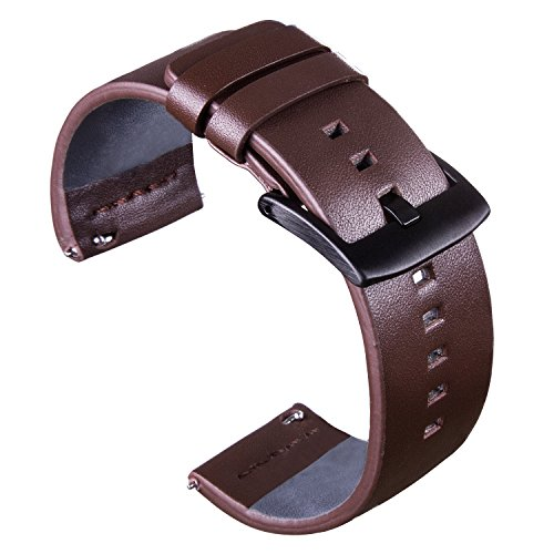 VIQIV Leather Bands for Samsung Gear S2/S3 Classic/Frontier/Fossil Q/Pebble Time Smart Watch, 18mm 20mm 22mm 24mm Wristband Accessories Quick Release Replacement Strap for Men
