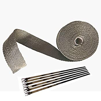 2  x 32  Titanium Exhaust Heat Wrap Roll for Motorcycle Basalt Heat Shield Tape with Stainless Ties