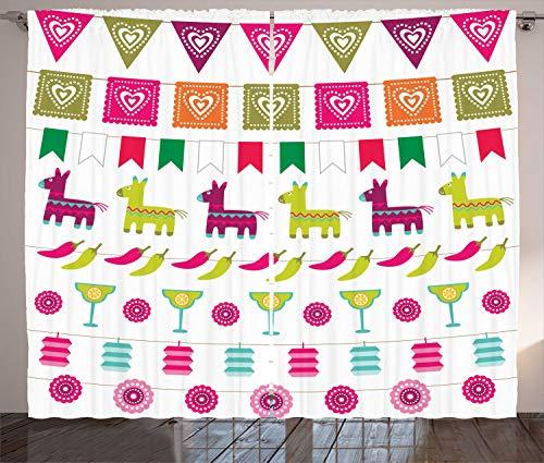ABAKUHAUS Fiesta Rustikaler Gardine, Lateinische Motive Pfeffer, Schlafzimmer Kräuselband Vorhang mit Schlaufen und Haken, 280 x 175 cm, Mehrfarbig