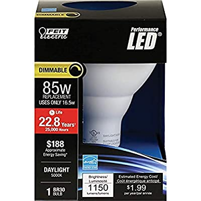 "Feit Electric BR30DM85/850/LED 85W Equivalent 16 Watt Dimmable, Indoor Flood Can BR30 LED Light Bulb, 5""H x 3.75"" D, 5000K Daylight"