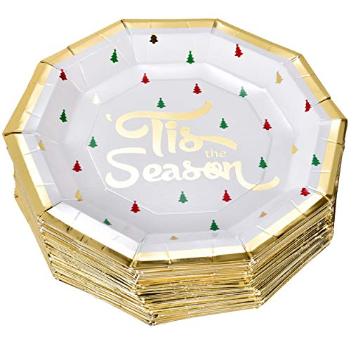50 Christmas Plates 9' in Elegant Decagon Shape with Gold Foil Merry Christmas and Tree Design in Red Green and Gold for Disposable Holiday Dinner Paper Party Supplies