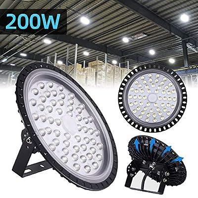 200W UFO LED High Bay Light lamp Factory Warehouse Industrial Lighting 20000 Lumen 6000-6500K IP54 Warehouse LED Lights- High Bay LED Lights- Commercial Bay Lighting for Garage Factory Workshop Gym