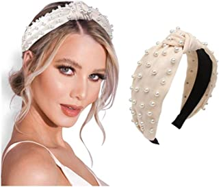 Pearl headband for Women Knot White Fashion Embellished Top Knotted Hairband ladies Twist Bohemian Hair accessories for Girls