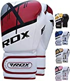 RDX Boxing Gloves for Training and Muay Thai, Maya Hide Leather Mitts for Fighting, Kickboxing, Sparring, EGO Glove for Punch Bag, Focus Pads, Thai Pad and Double End Ball Punching