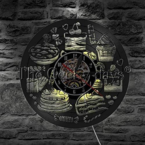 1 Stuk Licht Gebak Snoep Vinyl Wandklok Zoet Voedsel Achtergrondverlichting Modern Bakken Klaslokaal Decoratieve Wandklok-B
