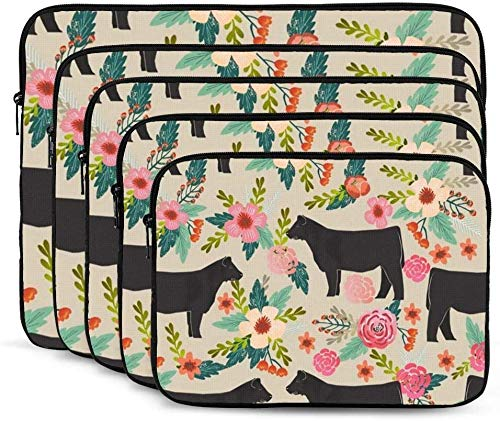 Flower Cow Farm Laptop Sleeve Bag Tablet Travel Protective Case Cover Compatible with 10-17 Inch Laptop