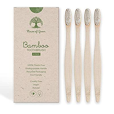 Bamboo Toothbrush, 4 Pack | BPA-free, Compostable, Eco Friendly, Biodegradable, Natural, Vegan, Recycled Packaging, Charcoal Infused Bristles