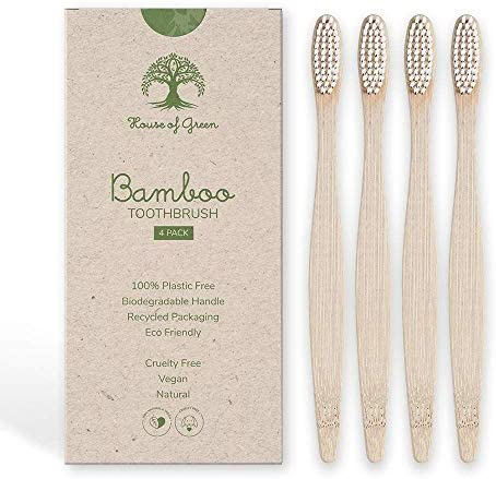 Bamboo Toothbrush 4 Pack BPA free Compostable Eco Friendly Biodegradable Natural Vegan Recycled product image