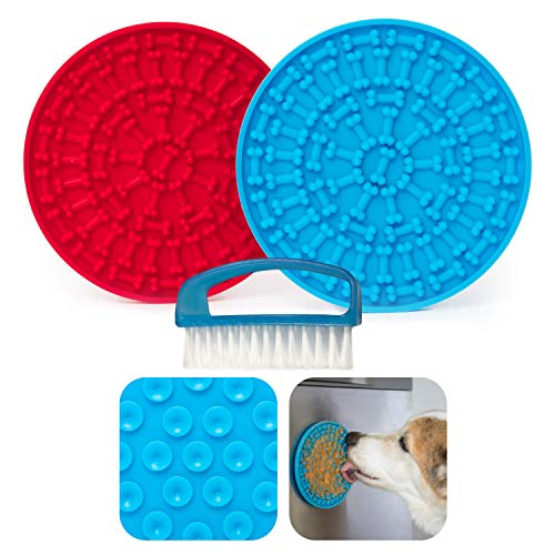 One Tree Planet 2 PACK Dog Lick Mat With Strong Suction Cups for Dog Grooming, Bathing & Anxiety, Pet Training Lick Pad, Slow Feeder Dog Lick Pad, Easy to Clean Lick Mat With Included Brush