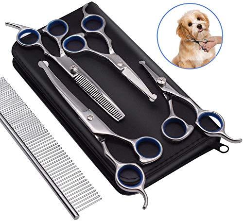 effoo Hundepflege-Scheren-Kit Professionelles Tierpflege-Trimmer-Set für Hunde mit runden Sicherheitsspitzen 5-in-1-Hochleistungs-Ausdünnung Gerade Gebogene Schere mit Kamm