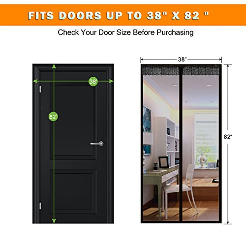 Hands Free Mesh Screen Net Door with Magnets Anti Mosquito Bug Magic Curtain Mesh Keep The Bug Insect and Fly Out fit up to 38 x 82 Inchs Door Or Window by Cafolo