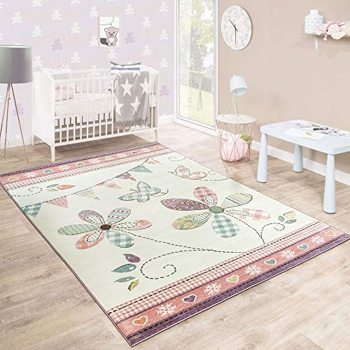 Paco Home Kinderteppich Mädchenteppich Verspielt Blumig Pastell Farben Rosa Weiß Creme, Grösse:160x220 cm