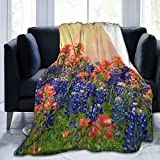 Super Soft Throw Blanket,Texas Bluebonnets and Indian Paintbrush Wildflowers Blooming On The Meadow in Spring,Warm Anti-Pilling Flannel Blankets for Couch Sofa Bedroom 80'x60'