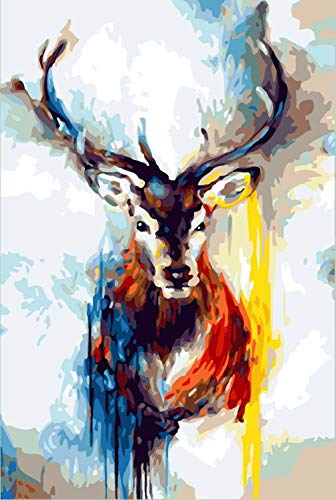 DIY Oil Paint by Number Kit, Painting Paintworks ELK Head Drawing with Brushes 16x20 inch Home Decor Decorations Gifts (Without Frame)