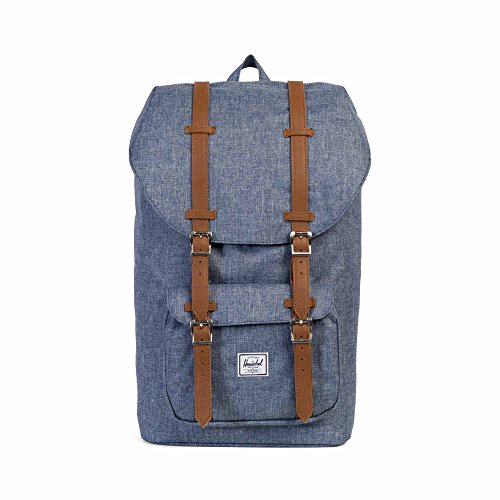 Herschel Little America Dark Chambray Crosshatch/Tan Synthetic Leather