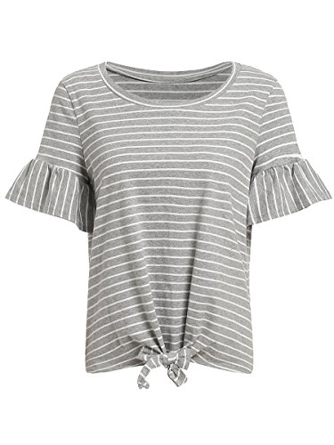 Romwe Women's Striped Short Sleeve Tie Front Knot Casual Loose Fit Tee T-Shirt Grey L