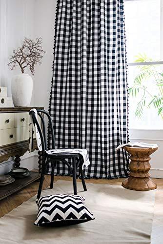 Tende per finestra semi-oscurante a griglia in bianco e nero 1 pezzo per soggiorno camera da letto, stile gancio 59 'L x 86,6' L (150x220 cm)