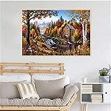 KWzEQ Imprimir en Lienzo Nature Lodge para Carteles y fotografías, decoración de Arte de Pared para Sala de estar50x75cmPintura sin Marco