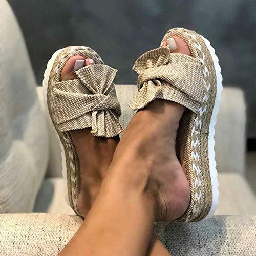 OcaseQ Schlappen Damen Espadrille Sandalen Flache Elegant Sommer Schleife Wildleder Sandaletten Peep Toe Platform Strand Hausschuhe,Khaki,39