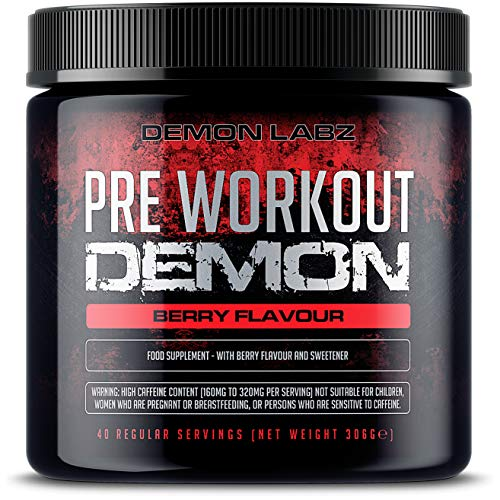 Pre Workout Demon (Berry Flavour) - Hardcore pre-Workout Supplement with Creatine, Caffeine, Beta-Alanine and Glutamine (Regular - 306 Grams - 40 Servings)