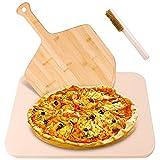 Lanlelin Pietra Refrattaria per Pizza da Forno con Paletta e Spazzola per Pizza in Bambù, Alta Qualità Resistenza Alte Temperature 900°C, Pietra Refrattaria Pizza Barbecue per Uso Alimentare.
