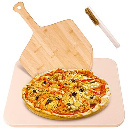 pietra refrattaria forata Lanlelin Pietra Refrattaria per Pizza da Forno con Paletta e Spazzola per Pizza in Bambù
