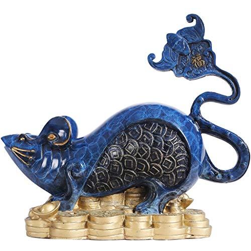LJXLXY Feng Shui Dekoration Fengshui Kupfer Maus Ratte Goldbeutel Chinese 2020 Sternhauptlieferungs-Dekoration Statue Figur, Attract Reichtum und viel Glück Home Tisch Büro Feng Shui