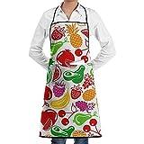 alice-shop Iconos de Frutas y Bayas en Blanco Delantal Divertido para Hornear Novedad Cocinar Chef Regalo para Hombres y ndash