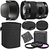 Sigma50mm f/1.4 DG HSM Art Lens for Nikon F with AOM Starter Kit, Sigma Case, Hood, Ultraviolet Filter (UV) Polarizing Filter (CPL) Fluorescent Daylight Filter (FL-D) - International Version