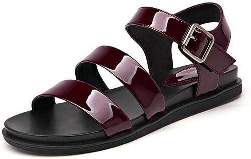 KUKI Sandales femme à fond plat avec des sandales pour femmes , 1 , US7.5   EU38   UK5.5   CN38