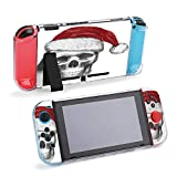 SUPNON Switch Case Compatible with Nintendo Switch Games Protective Hard Carrying Cover Case for Nintendo Switch Console Joy Con Controlle - Skull with Santa Hat Hand Drawn Illustration Design25896