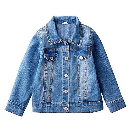LPATTERN Baby/Kleinkinder Mädchen Prinzessin Jeansjacke Denim Jacke Übergangsjacke Fashion Outwear mit Stickerei, Herz, Buchstabe, Hellblau, 98(Label: 100)