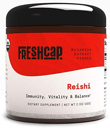 FreshCap Organic Reishi Mushroom Supplement Powder for Healthy Aging Sleep and Immunity 60 Gram product image