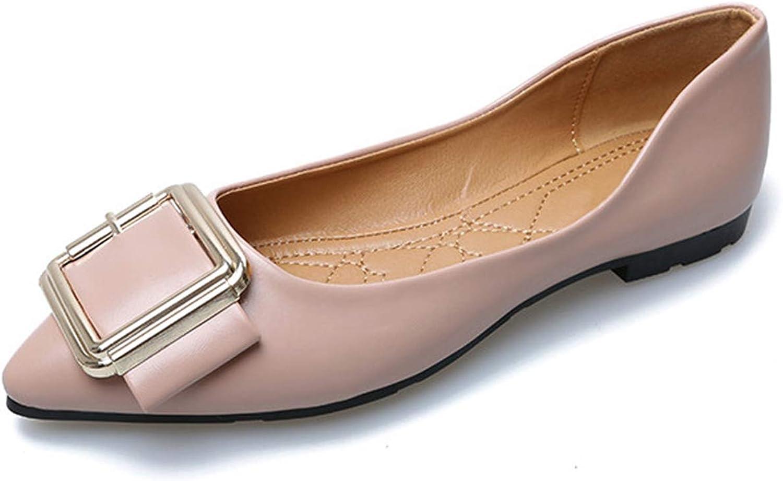 Owen Moll Women Flats, Fashion Shallow Mouth Square Toe Buckle Decoration shoes