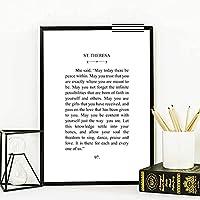 ウォールアートセントテレサ引用プリント現代文学ブラックホワイトポスターウォールアートキャンバス絵画写真ホームルームの装飾60x80cmフレームなし