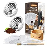 AIEVE Refillable Coffee Capsule Kit for Nespresso Vertuoline include 2 Pack Stainless Steel Capsule, 50 Pcs Aluminum Foil Seals Lid, Capsule Holder, Coffee Scoop and Brush Fits Refilling Vertuo Pods