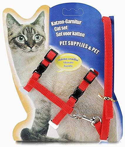 MOPIDICK - Arnés ajustable para gato, correa de nailon con correa, correa de gato y arnés para gato y mascota pequeña caminando roja