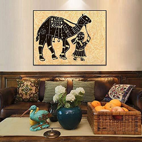Canvas schilderij Olieverf Kind met een kameel Posters en prints Muurfoto's voor de woonkamer Wanddecoratie E 40x50cm Geen lijst
