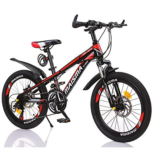 FUFU 20 Pulgadas niños y niñas Bicicletas Variable Velocidad montaña niños Bicicleta Deportes Deportes al Aire Libre Ciclismo para 9-14 años de Edad niños con Agua Bote (Color : Red)