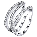 AoedeJ - Anillo para mujer, plata de ley 925, con forma de Z, para pavimentar anillos de boda, tamaño 7-9