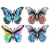 STOBOK 4 Stücke 3D Schmetterlinge Deko Metall Schmetterling Wandkunst Wandschmuck Gartendeko Wandbild Gartenfigur Tierfiguren für Geburtstag Hochzeit Ostern Party Wanddeko Mischfarbe