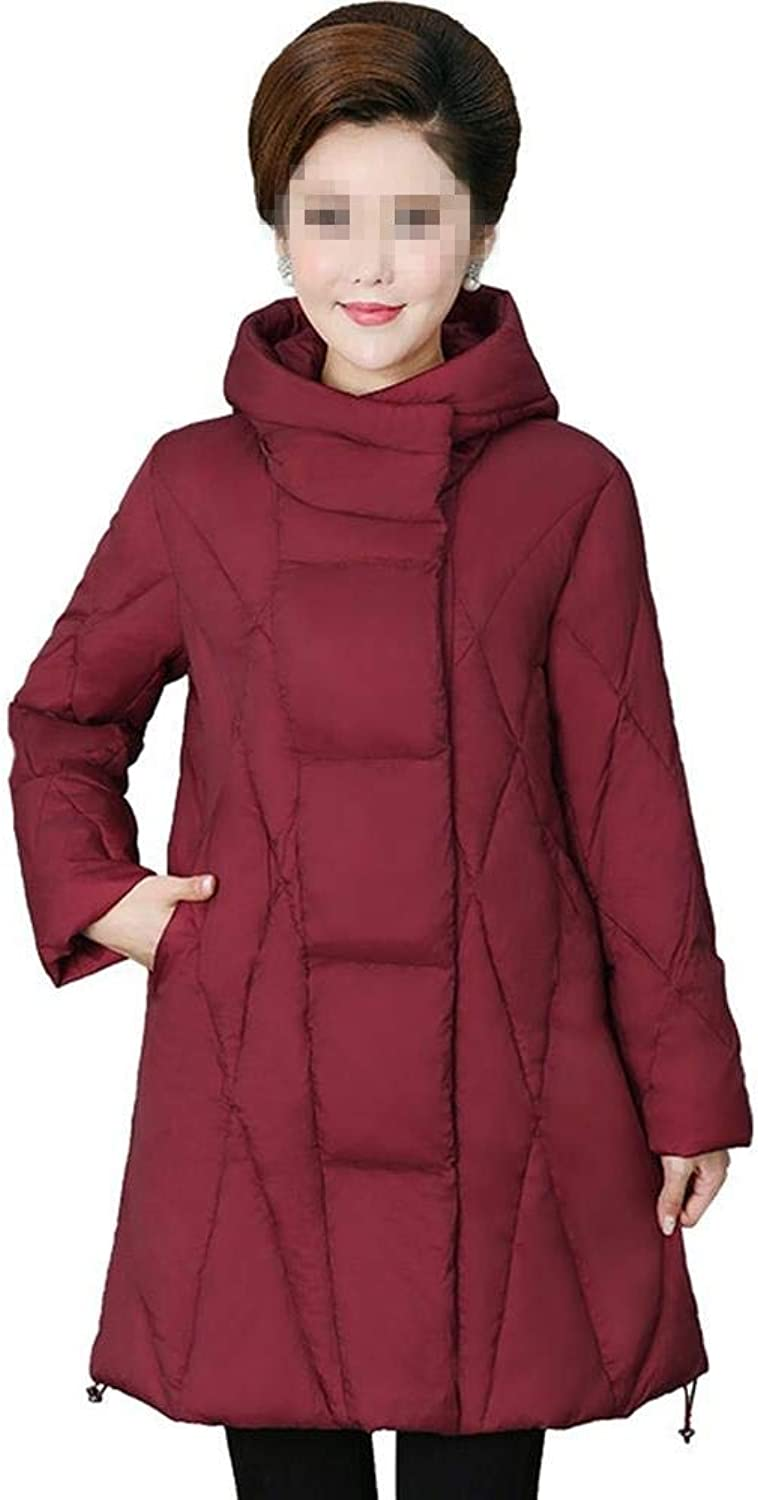 Dotoo Winter MiddleAged Cotton Women's Long Thick Warm Fashion Hooded Jacket