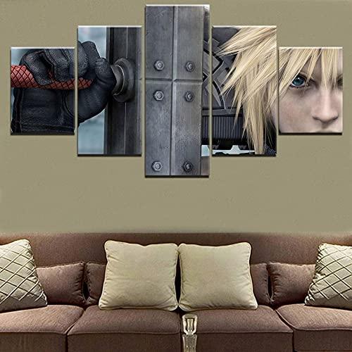 Lienzo 5 Piezas Imagen Modular Arte de la pared Impresión del juego Póster Cloud Strife Final Fantasy Vii Espada Pintura Sala de estar enmarcada 150x80cm