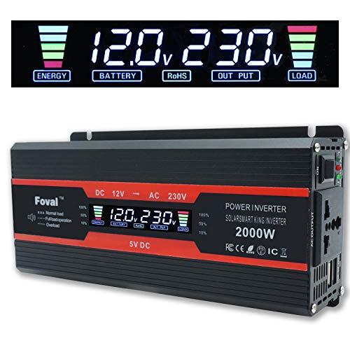 Cantonape 1000W (Peak 2000W) Onduleur de Voiture DC 12V à 230V AC avec Prise Universelle pour écran LCD et Double Chargeur de Voiture USB 3.1A pour la Maison de Camion de Voiture