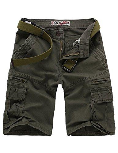 Jueshanzj Herren Basic Vintage Cargo Shorts Bermudas Kurze Hose Baumwolle Grau XXXL