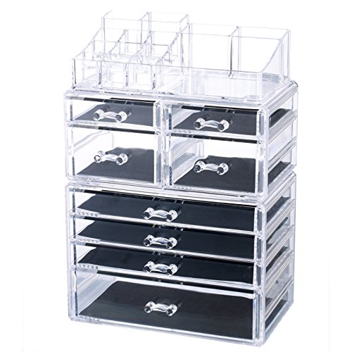 Homde X-Large Acrylic Makeup Organizer Jewelry & Cosmetic Storage Case 3 pieces Desk Organizer for Office Counter Dresser Bathroom