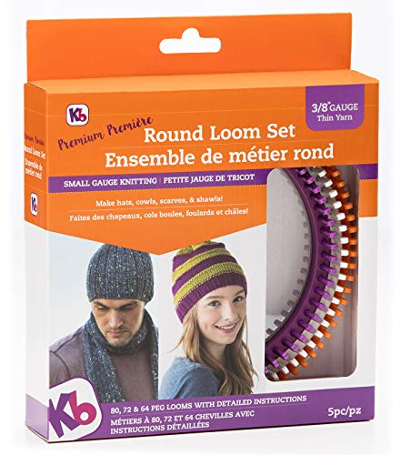 Authentic Knitting Board Premium Round Loom Set, 3/8