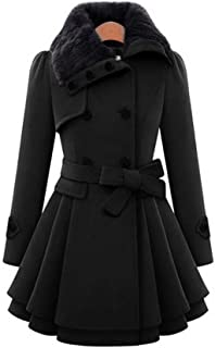 XUEPING レディースジャケット、 キルティング冬コート、 ウインドブレーカー、 毛皮の襟 ベルト装飾 S-4XL 3色 (色 : 黒, サイズ さいず : L/UK8/EU36)