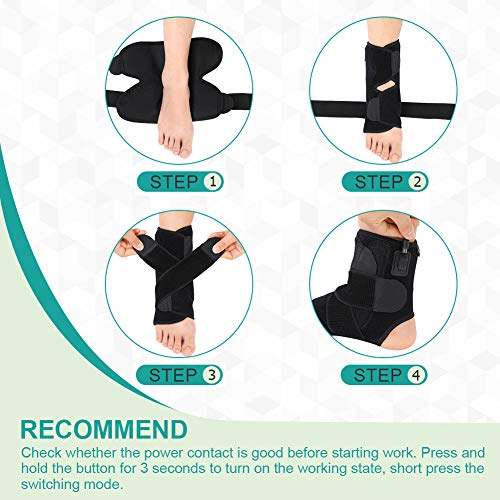 VINGVO Heated Ankle Brace Wrap - Hot Therapy Foot Wrap with 3 Level Controller for Stabiling Ligaments, Soothe Achy Feet, Reduce Swelling, Pain Relief for Sprains, Arthritis, Torn Tendons,Black